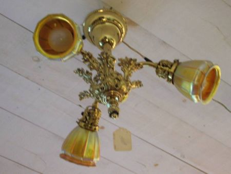 Rococo-style Brass Three-Light Ceiling Fixture with Three Quezal Ribbed Gold Favrile Glass Shades.