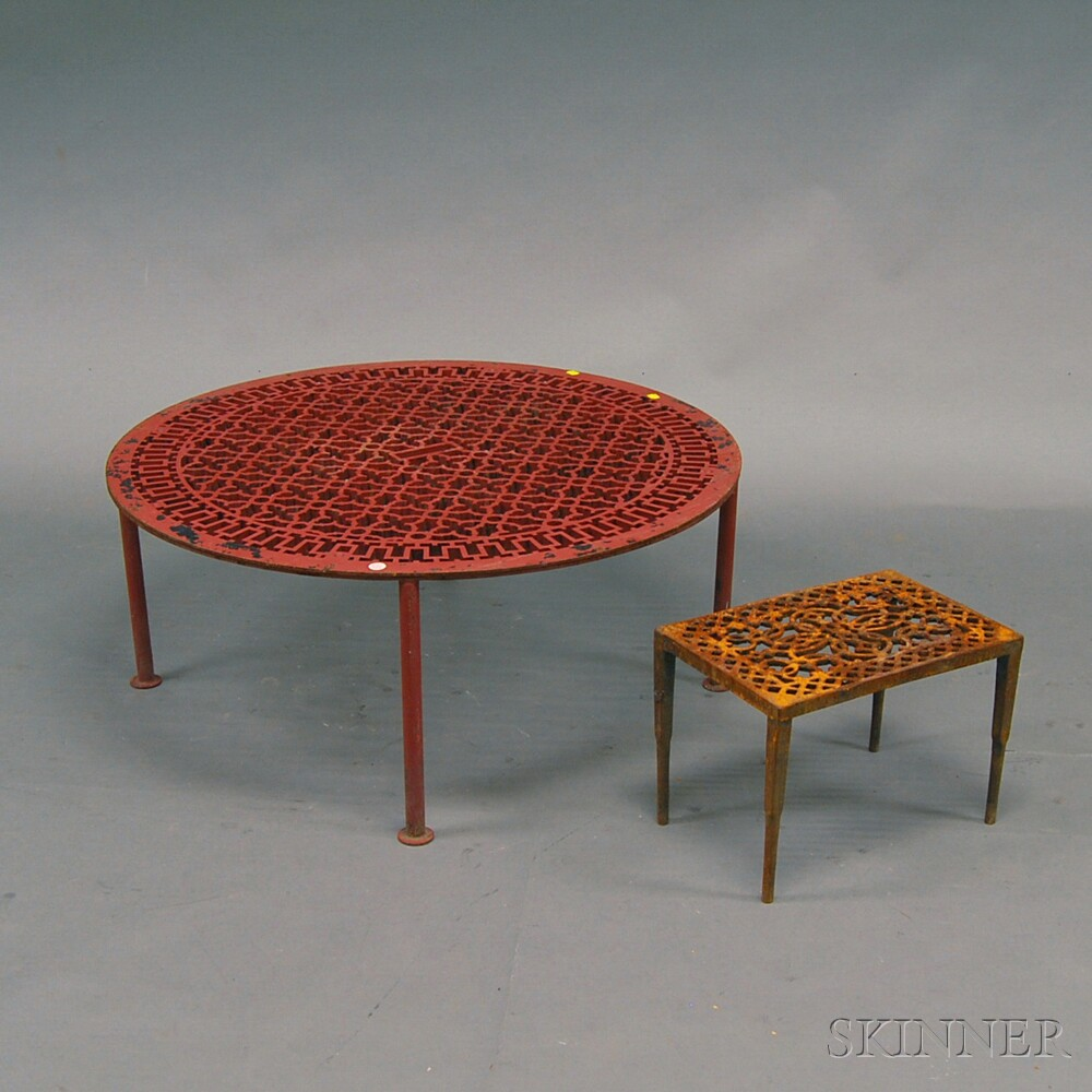 Red painted sewer grate coffee table and a cast iron trivet sale red painted sewer grate coffee table and a cast iron trivet geotapseo Images