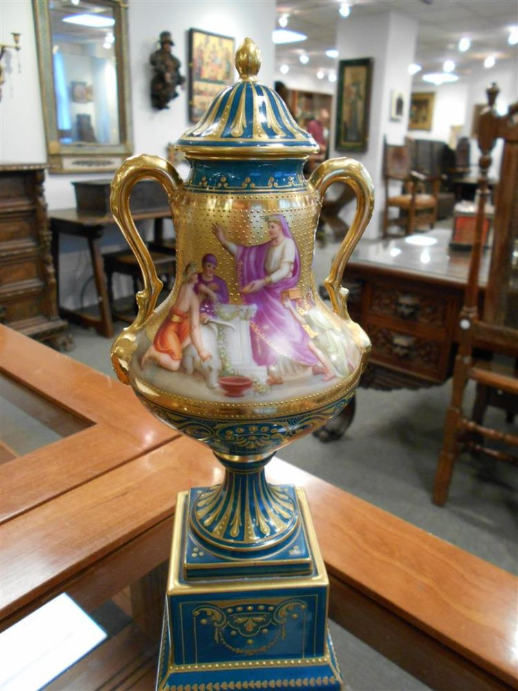 Pair of Vienna Porcelain Vases with Covers