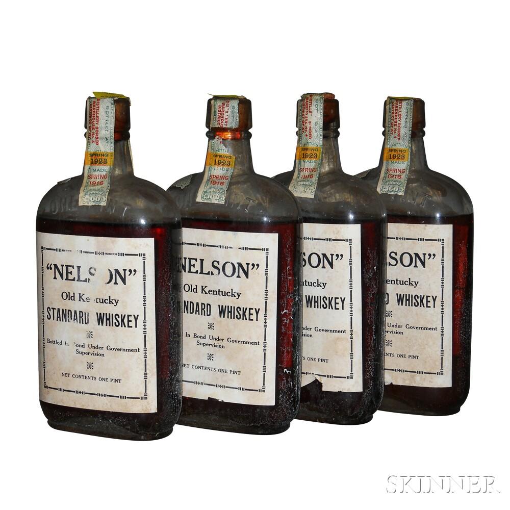 Nelson Old Kentucky Standard Whiskey 7 Years Old 1916, 4 pint bottles