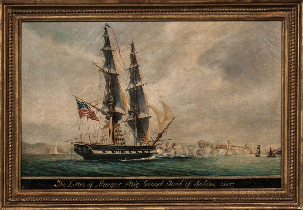 """American School, 19th Century      The Letter of Marque Brig: """"Grand Turk"""" of Salem, 1815"""