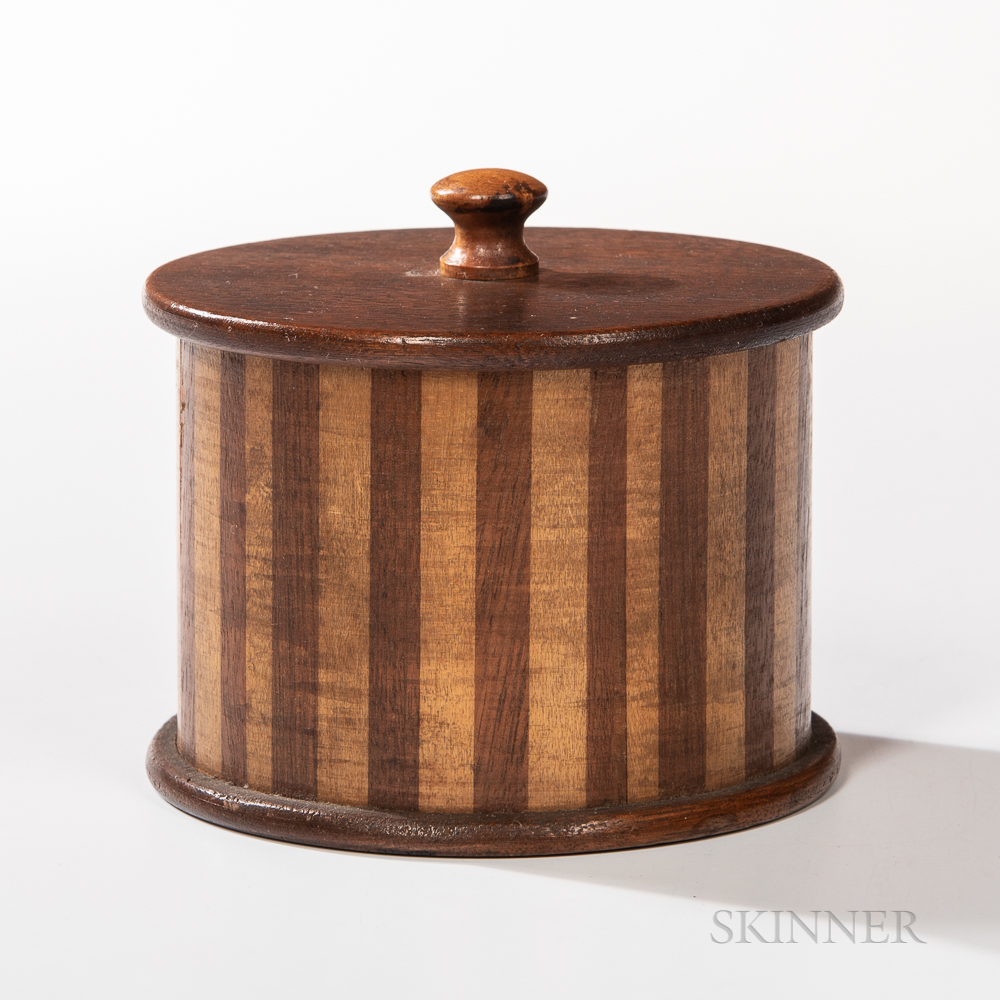 Cherry and Walnut and Maple Inlaid Lidded Box
