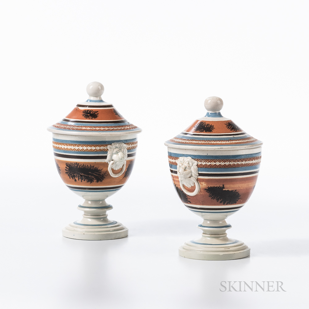 """Pair of Mocha """"Seaweed"""" and Slip-decorated Pearlware Covered Urns"""