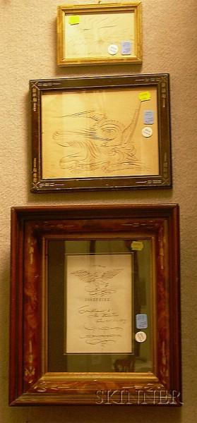 Three Framed 19th Century Calligraphy Items