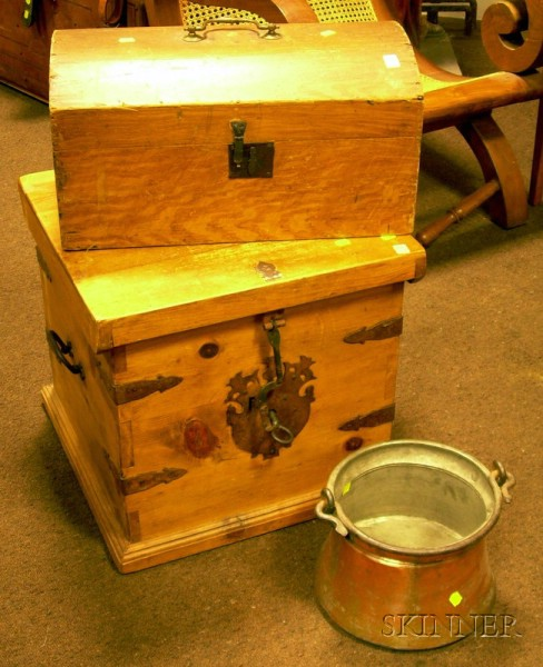 Grain-painted Wooden Dome-top Box, an Iron-mounted Pine Lift-top Chest, and a Copper Kettle.
