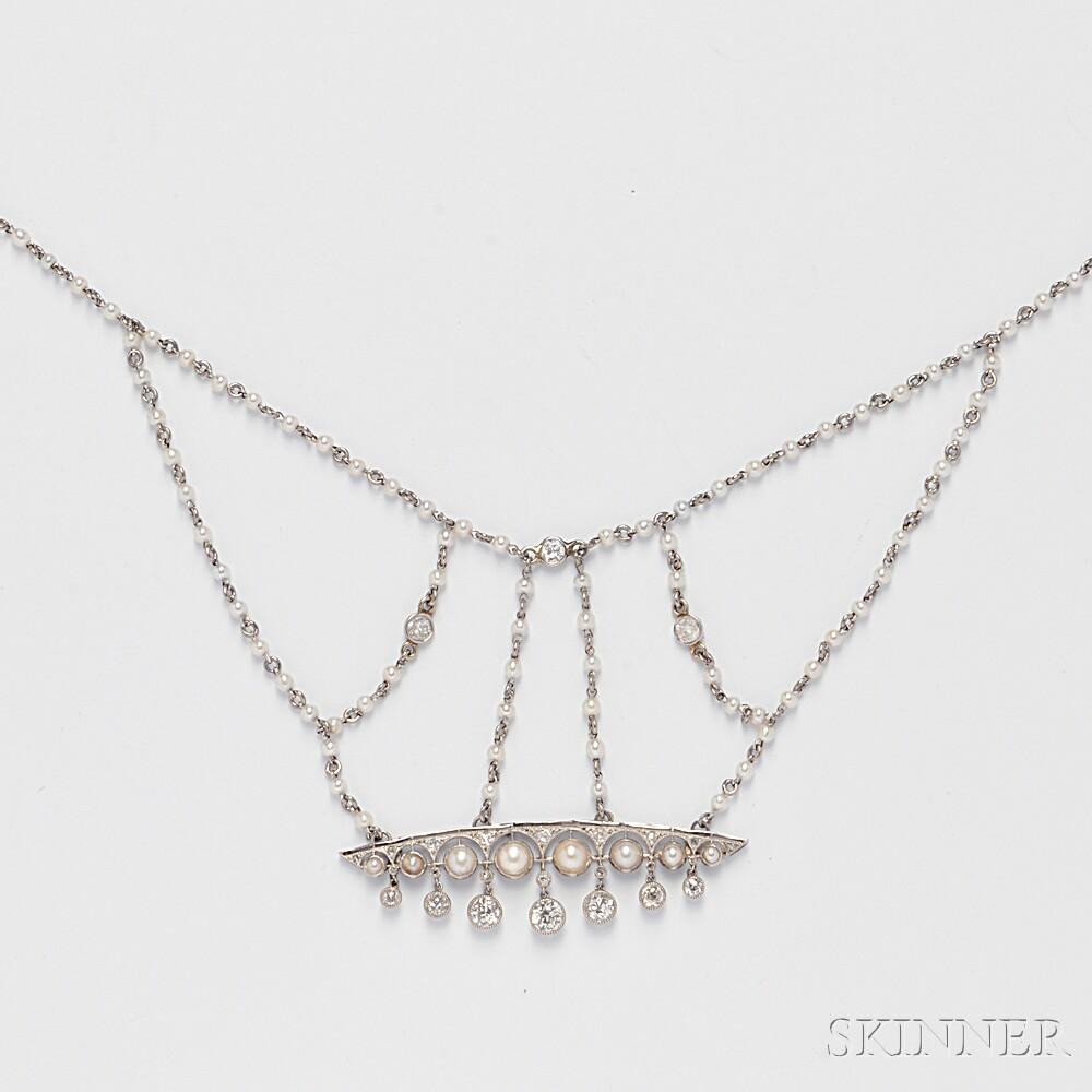 Platinum, Pearl, and Diamond Bib Necklace