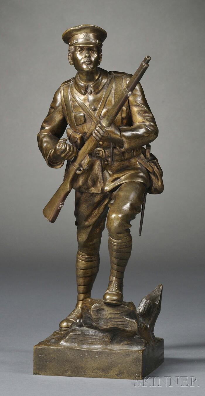 Gilt-bronze Figure of a British World War I Soldier