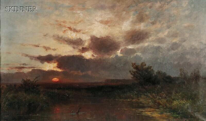 Franz Reder-Broili (German, 1854-1918)      Marsh View at Sunset