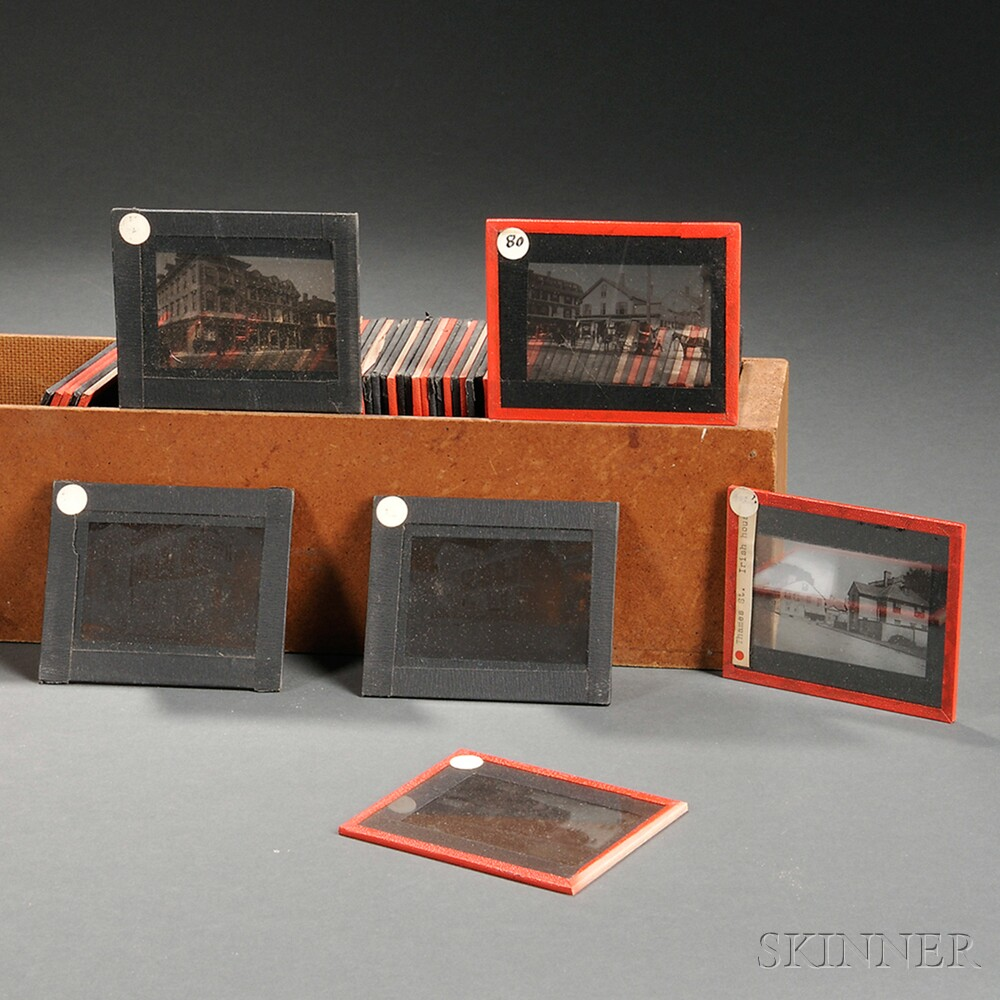 Collection of Approximately Eighty Glass Slides Showing Mostly Rhode Island Scenes
