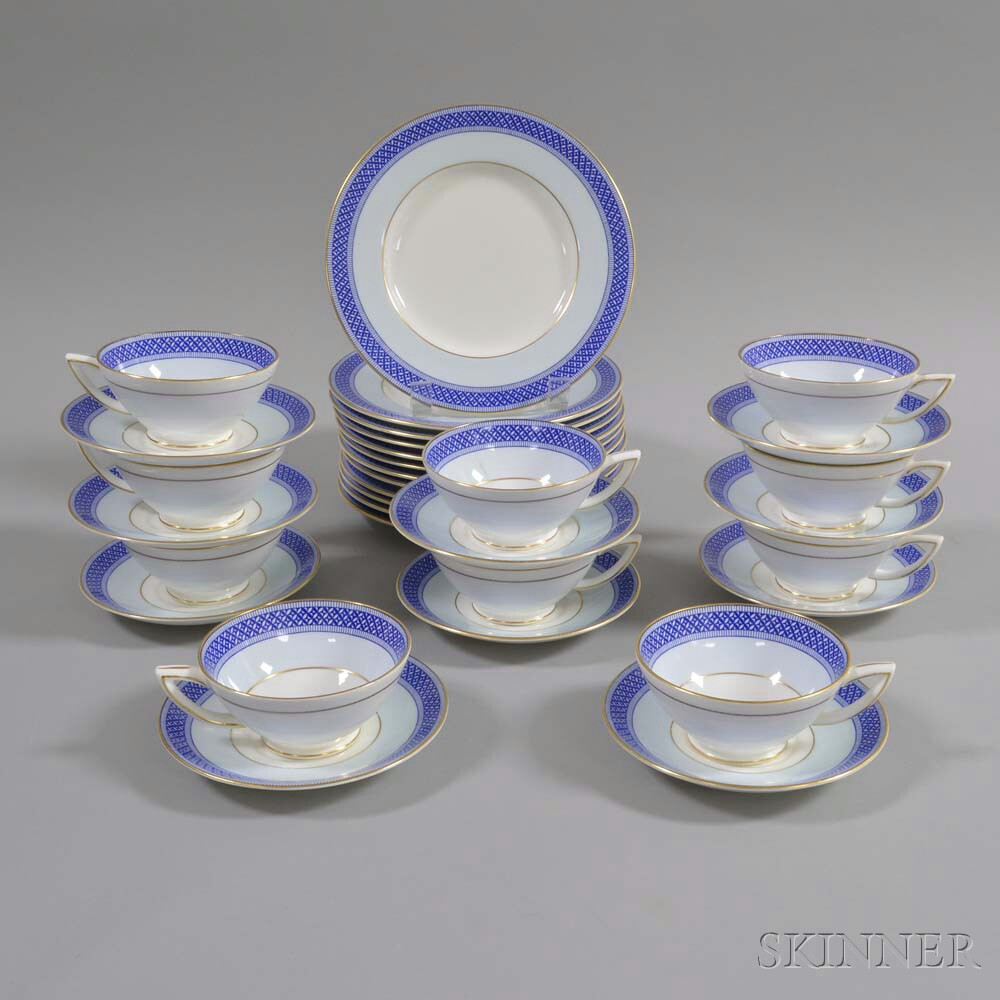 Thirty-two Pieces of Mintons Porcelain Teaware