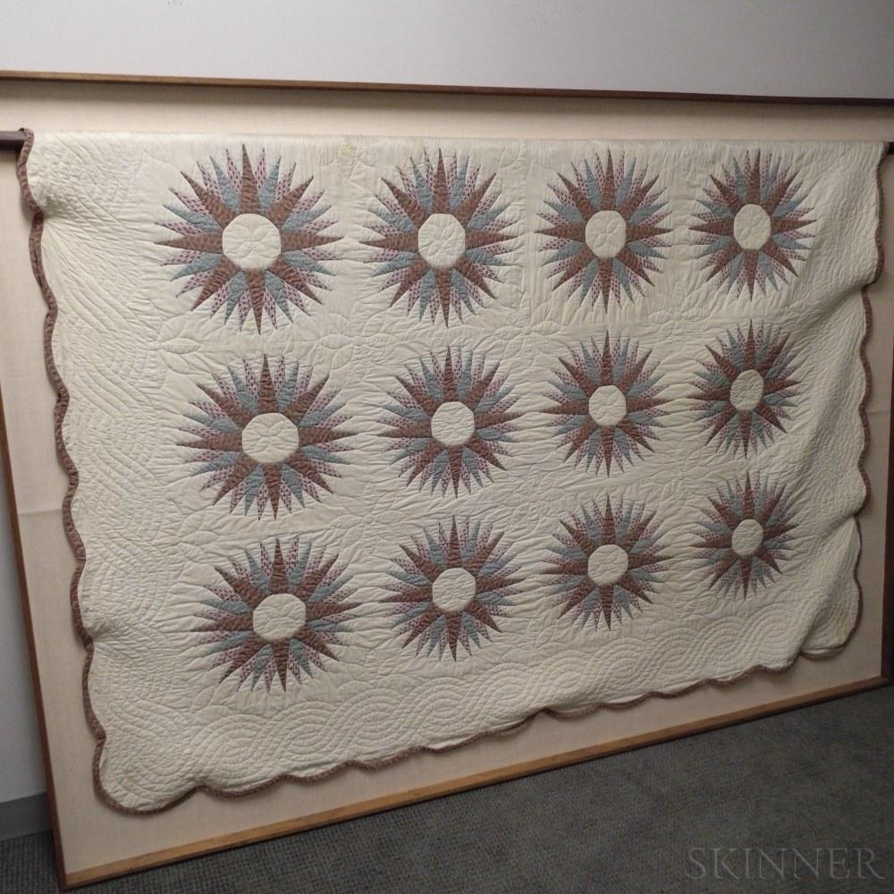 Framed Appliqued Cotton Mariner's Compass Quilt