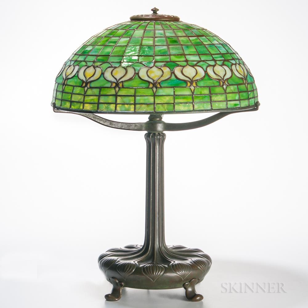 """Tiffany Studios Bronze Table Lamp with """"Pomegranate"""" Shade"""