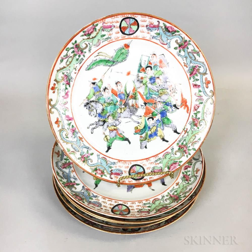 Six Famille Rose-style Porcelain Plates