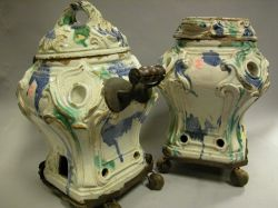 Pair of French Wrought Iron Mounted Lidded Faience Braziers.