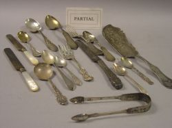 Forty-five Pieces of Assorted Sterling and Coin Silver Flatware and Forty-one Silver Plated and Mother-of-Pearl Handled Flatware Items