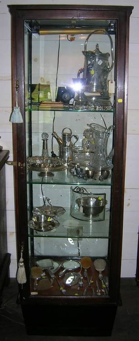 Edwardian Mahogany and Glass One-Door Display Case