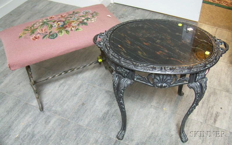 Glass-top Painted Cast Iron Table and a Cast Iron Bench.
