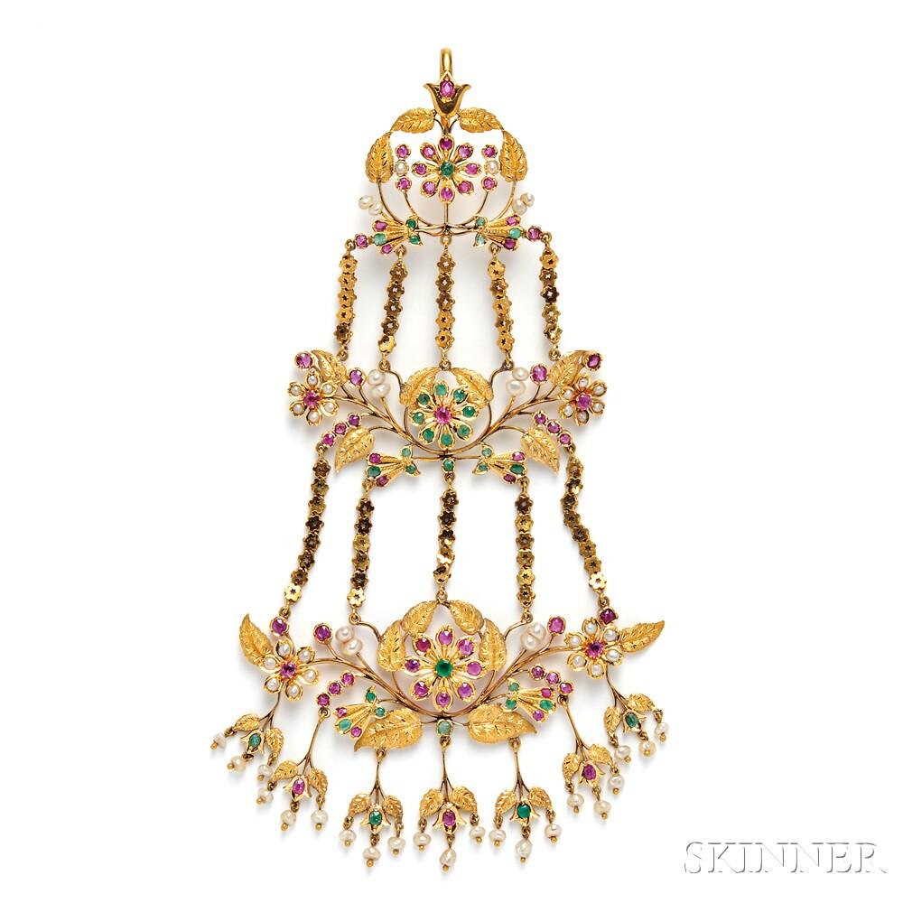 18kt Gold Gem-set Head Ornament (Jhumar)