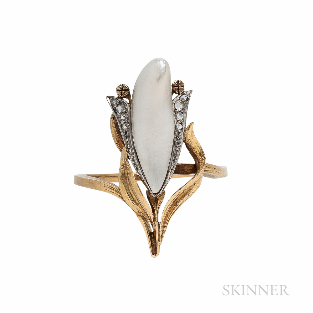 Art Nouveau 18kt Gold, Freshwater Pearl, and Diamond Ring