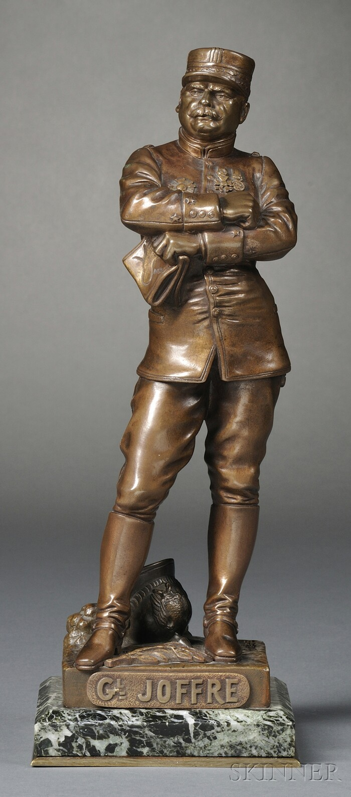 Henri Fugère (French, 1872-1944)      Gilt Bronze Figure of French General Joseph Joffre