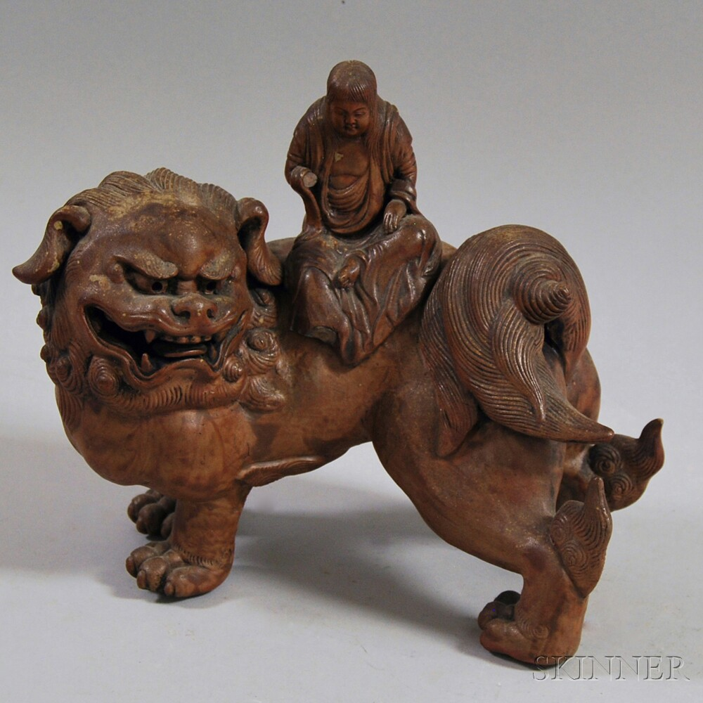 Chinese Pottery Figure of Manjusri