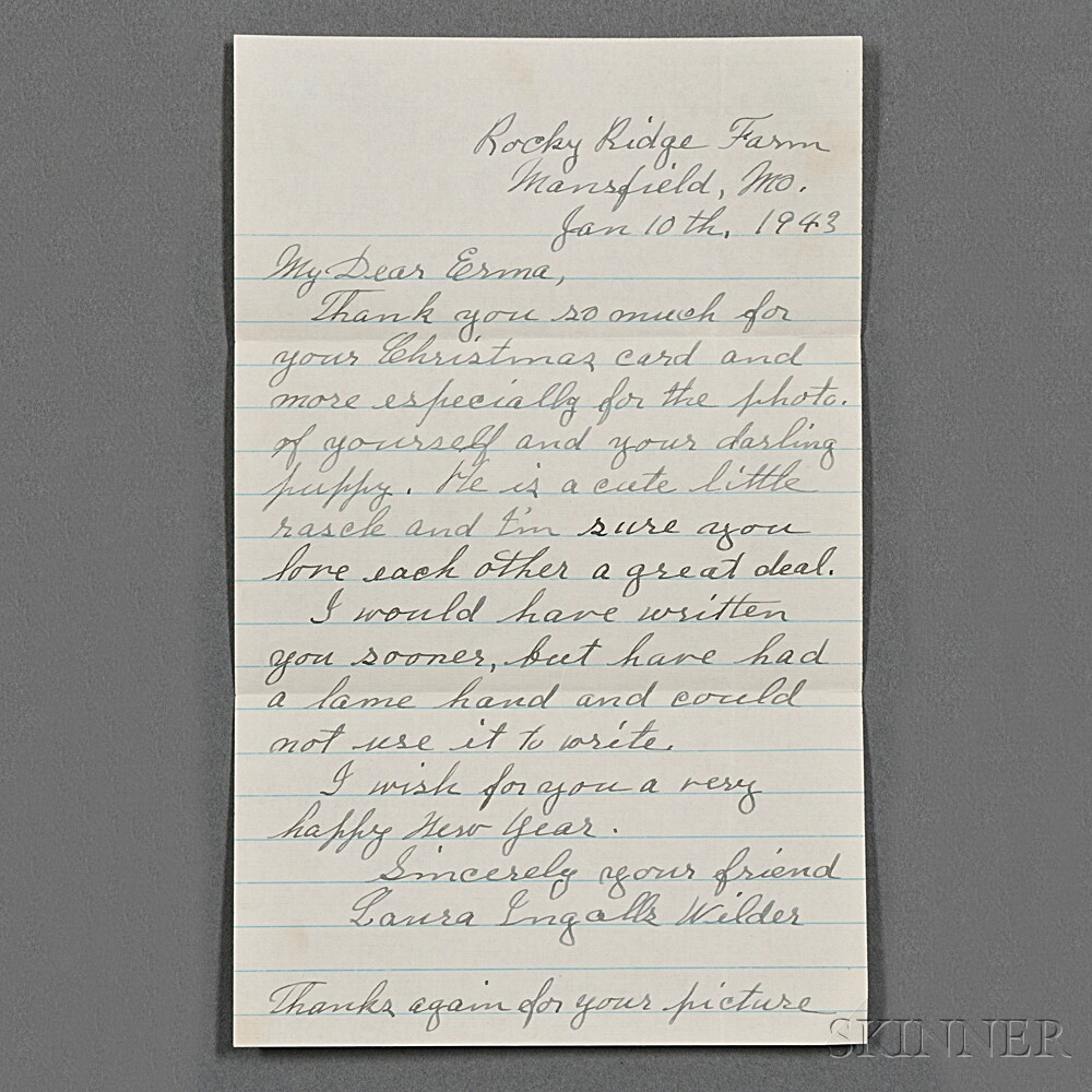 Wilder, Laura Ingalls (1867-1957) Autograph Letter Signed, 10 January 1943.