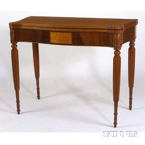 Federal Maple and Mahogany Veneer Inlaid Card Table