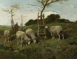 Charles Ferdinand Ceramano (Belgian, 1829-1909)  Sheep and Shepherdess