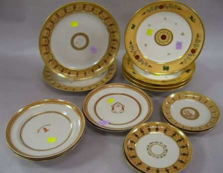 Twelve Chinese Export Porcelain Continental-style Armorial Decorated Dishes and a Set of Four Paris Porcelain Dishes.