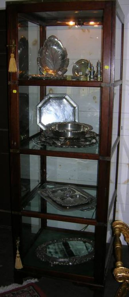 Edwardian Brass-mounted Mahogany and Glass One-Door Display Case