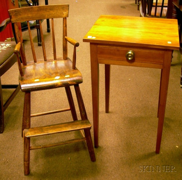 Cherry One-Drawer Stand and a Childs Windsor-type High Chair.