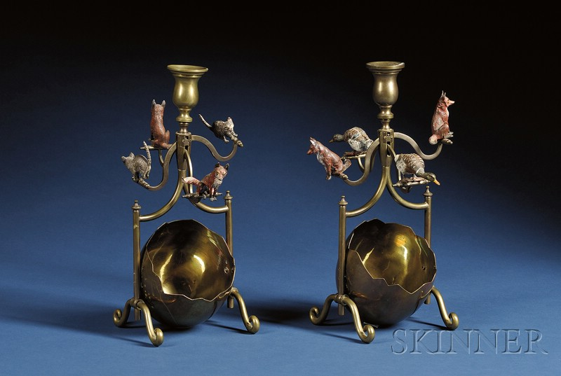 Pair of Whimsical Austrian Cold Painted Bronze and Brass Candelabra