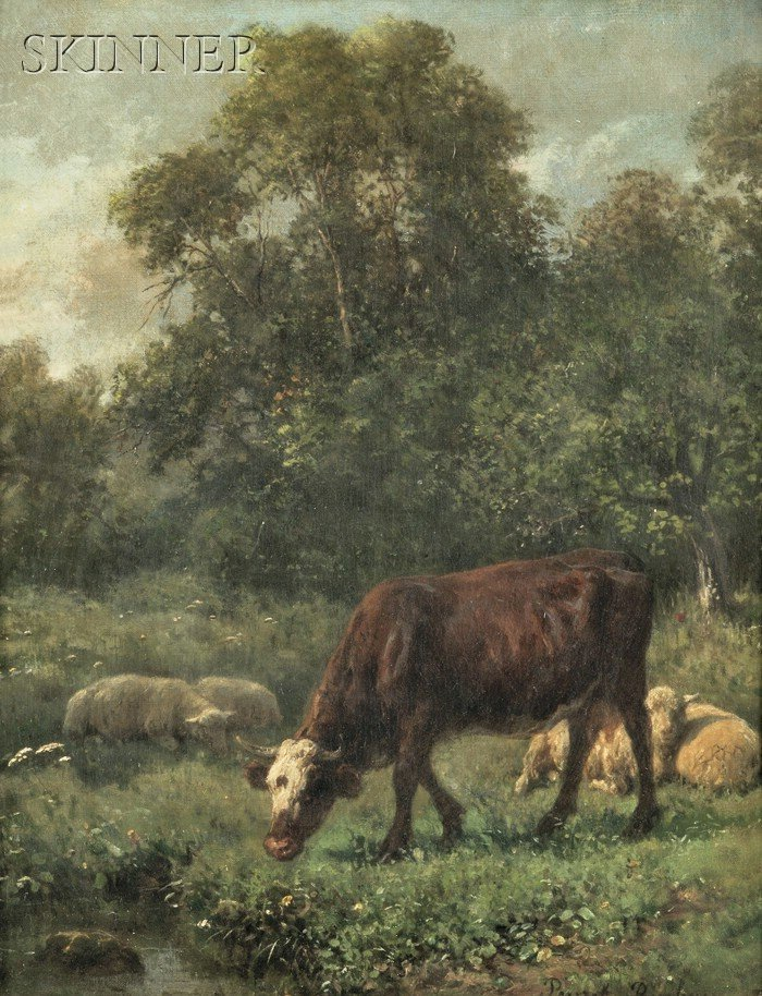 Juliette Peyrol Bonheur  (French, 1830-1891)      Pastoral Scene with Grazing Cow and Sheep