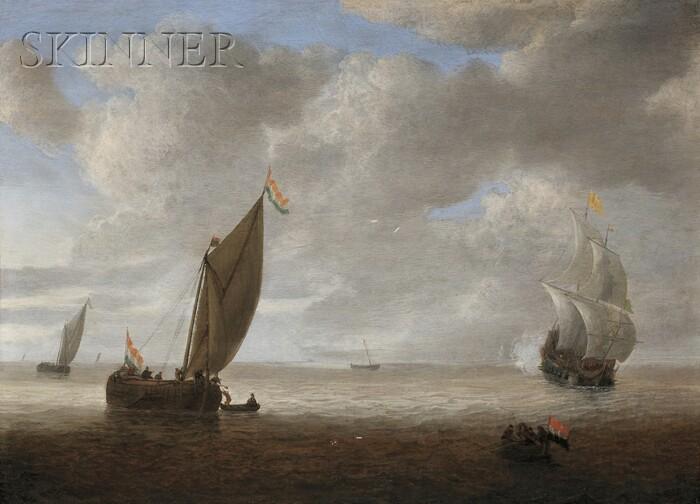 Hendrick van Anthonissen (Dutch, 1605-c. 1655)      Dutch Coastal Vessels in a Light Breeze, a Man of War Firing a Salute Beyond