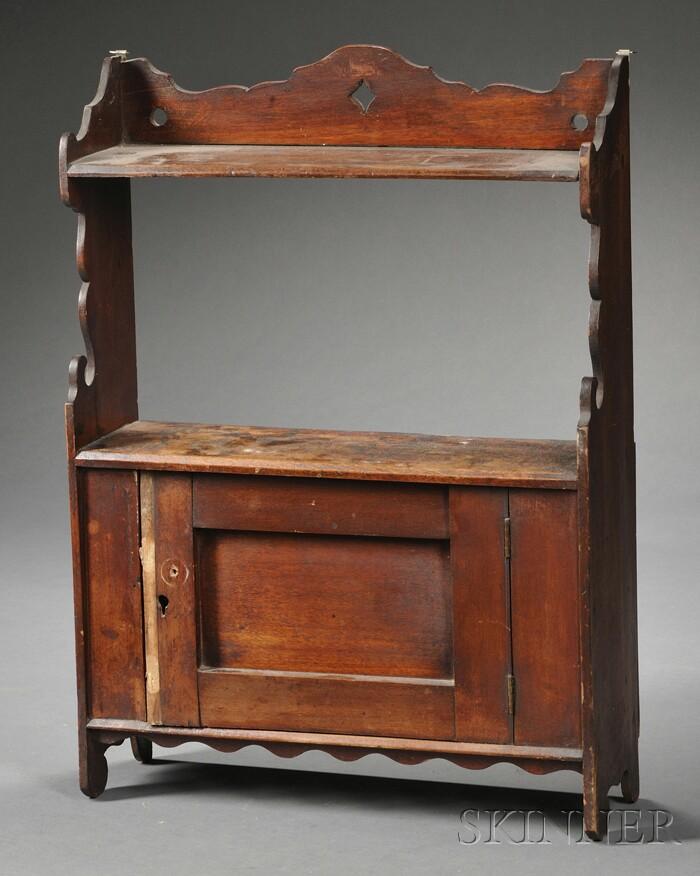 Diminutive Provincial Mahogany Hanging Shelf/Cabinet