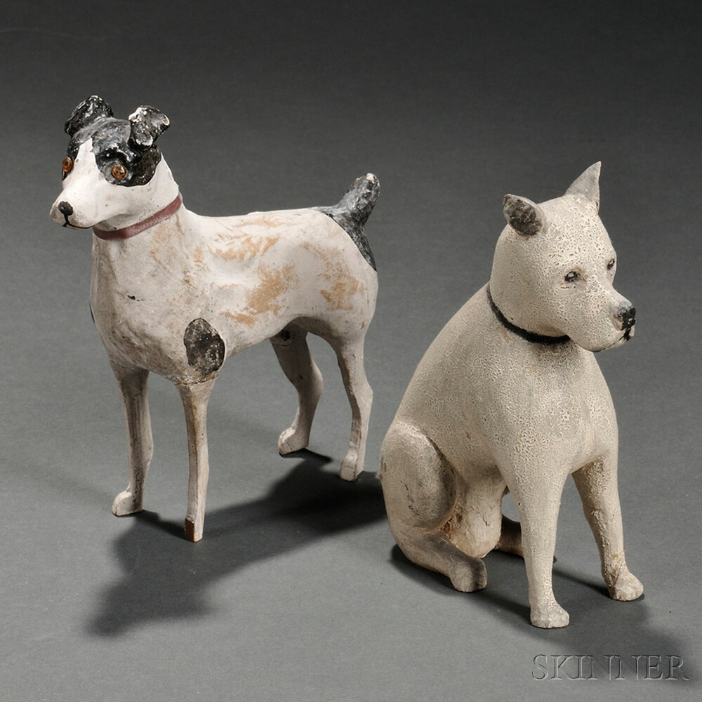 Two Carved and Painted Wood Dogs