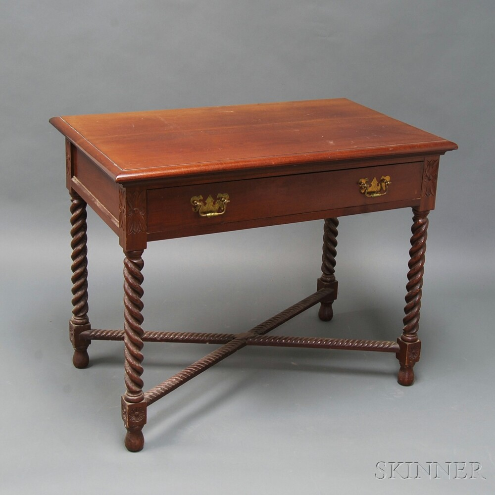 Late Classical Carved Mahogany One-drawer Worktable