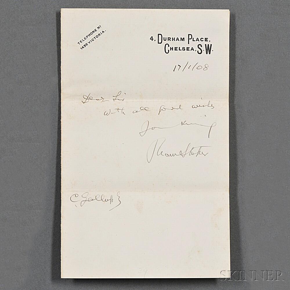 Stoker, Bram (1847-1912) Autograph Note Signed Bram Stoker, 17 January 1908.
