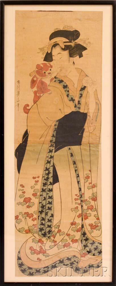 Kikugawa Eizan (1787-1867), Courtesan with Dog