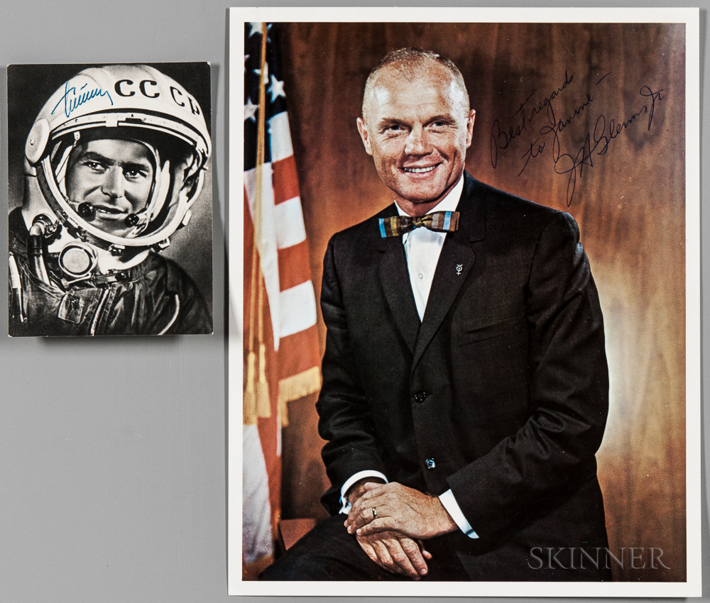 Astronaut and Cosmonaut, Two Signed Photographs: John Glenn (1921-2016) and Gherman Titov (1935-2000)
