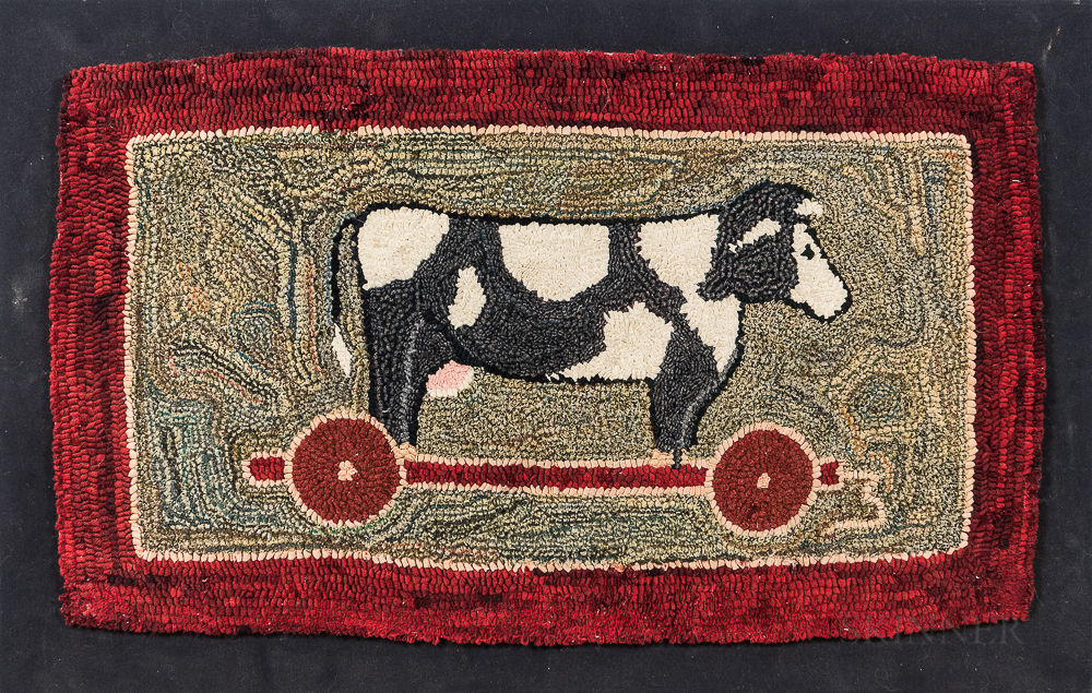 Hooked Rug Depicting a Cow Pull-toy