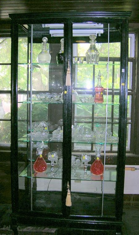 Edwardian Walnut and Glass Two-Door Display Case