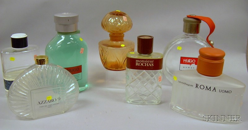 Seven Large Designer Perfume Retailer's Counter Advertising Glass Display Bottles