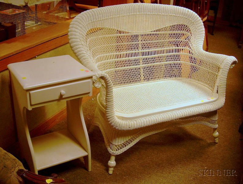 White-painted Woven Wicker Settee and a White-painted One-Drawer Side Stand.