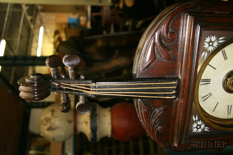 Walnut Violin Clock by Seth Thomas