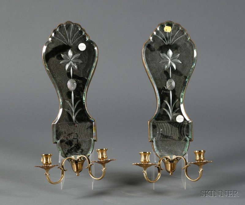 Pair of Venetian-style Mirrored Glass Two-light Wall Sconces