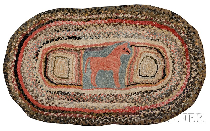Wool and Cotton Oval Hooked and Braided Rug Centered with a Red Horse Motif