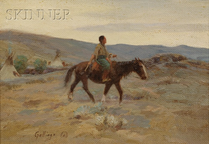 Elling William (Bill) Gollings  (American, 1878-1932)      Squaw  /Landscape with Native American on Horseback