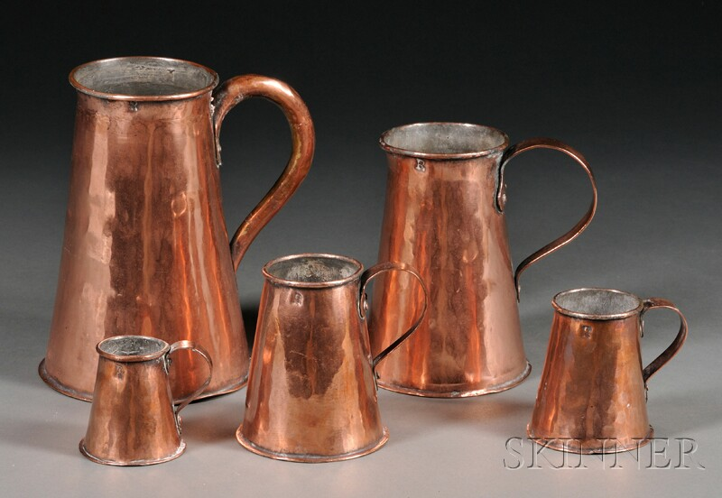 Set of Five Copper Measures