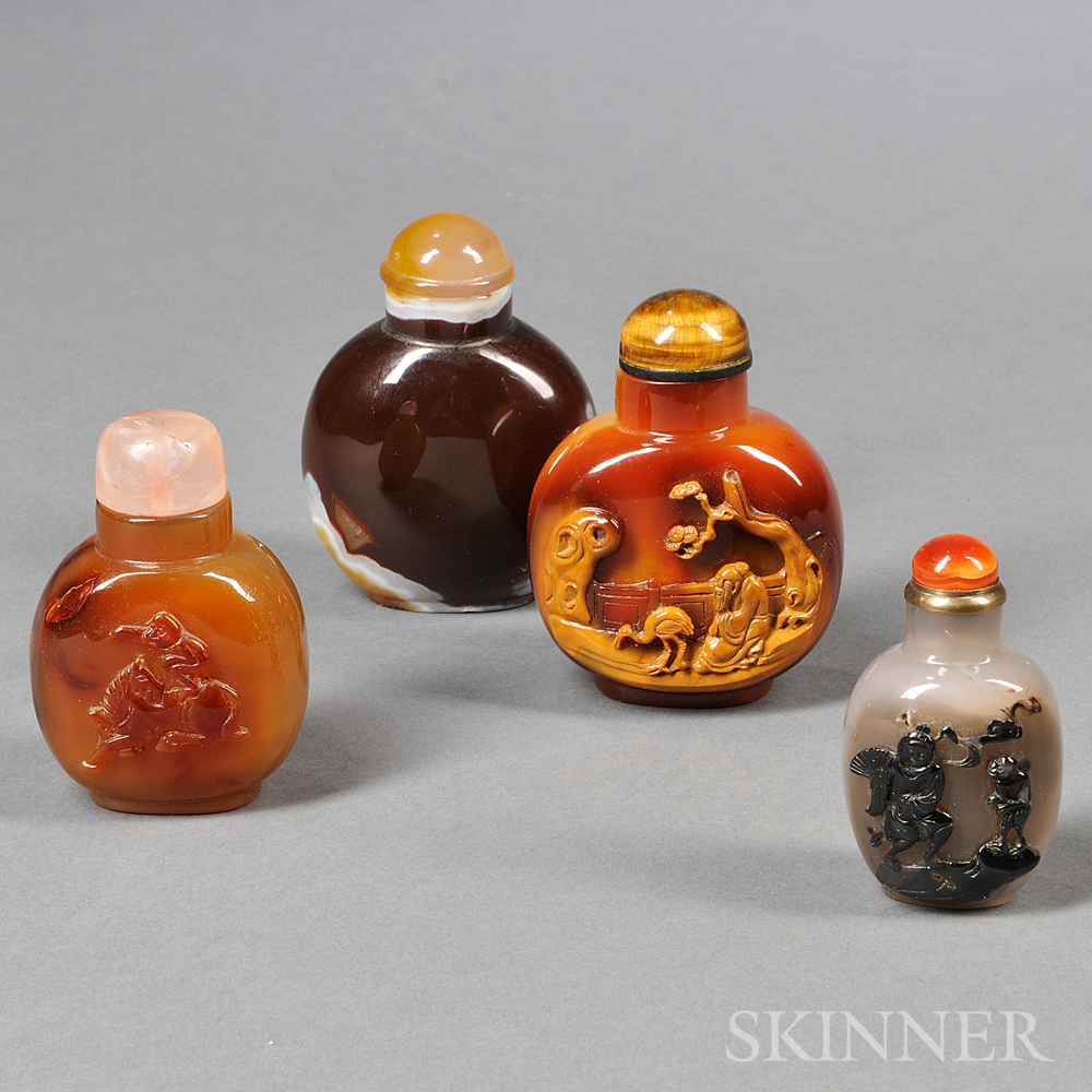 Four Agate Snuff Bottles